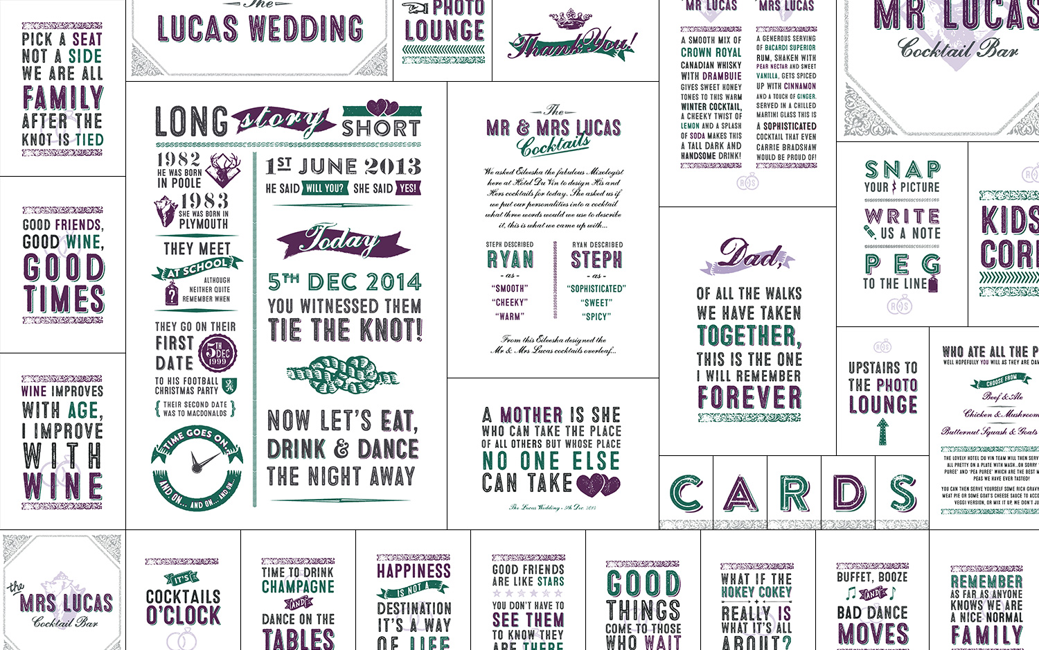 On-the-day design & print work for a December wedding