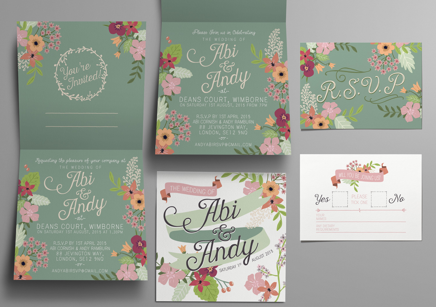 Fresh Florals and Sage Green Invitations for a Summer Wedding…