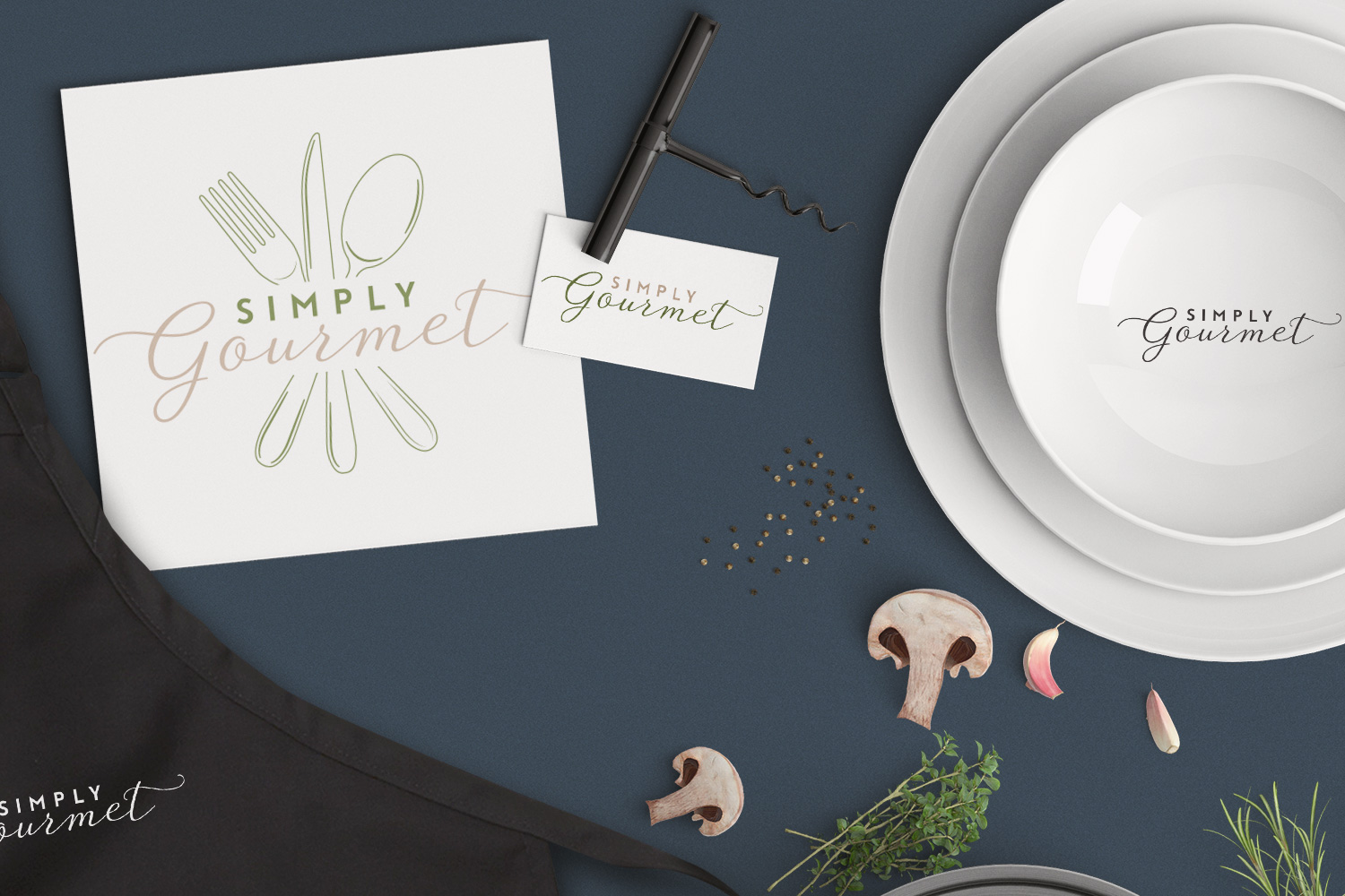 Elegant + contemporary logo design for gourmet foodies